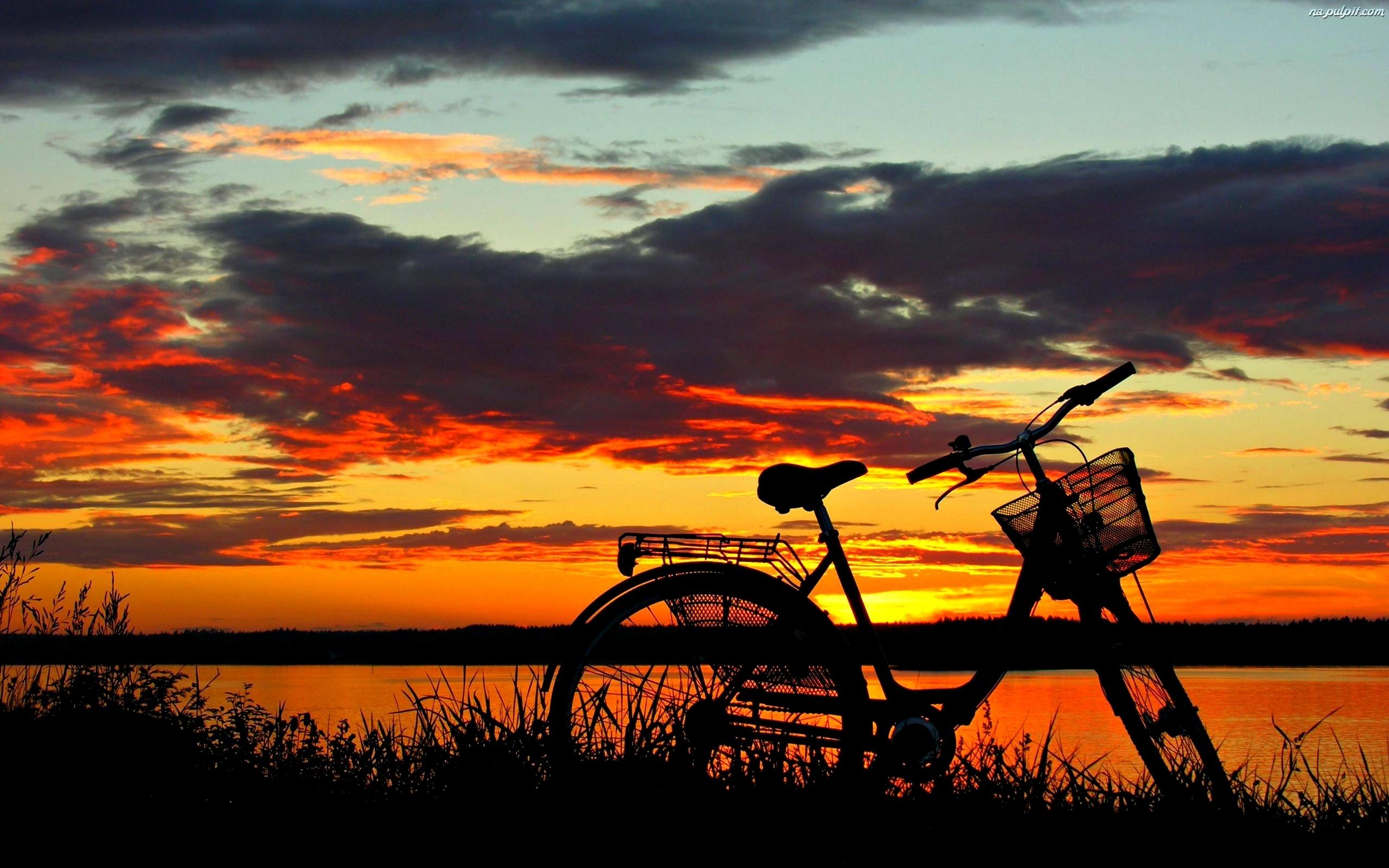 Rower, Słońca, Zachód, Jezioro